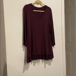 LOGO dark purple shirt soft stretchy ruffle trim